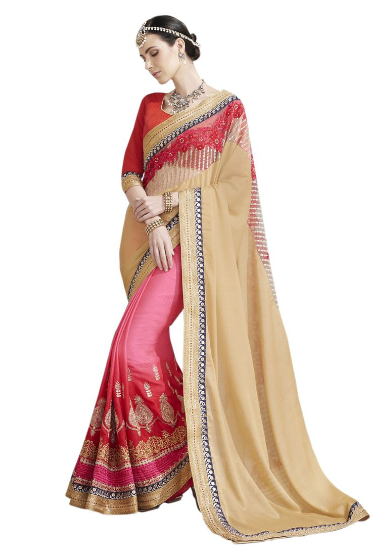 Buy Now Multicolour Embroidery Work Sparkle Chiffon-Georgette Half-Half Fancy Saree only at Lalgulal.com. Price :- 2,552/- inr. To ‪#‎Order‬ :- http://goo.gl/GBavNn To Order you Call or ‪#‎Whatsapp‬ us on +91-95121-50402 COD & Free Shipping Available only in India.