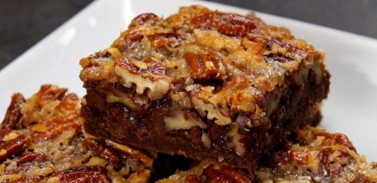 Close-up of german chocolate pecan bar.   Use cup4cup flour for GF