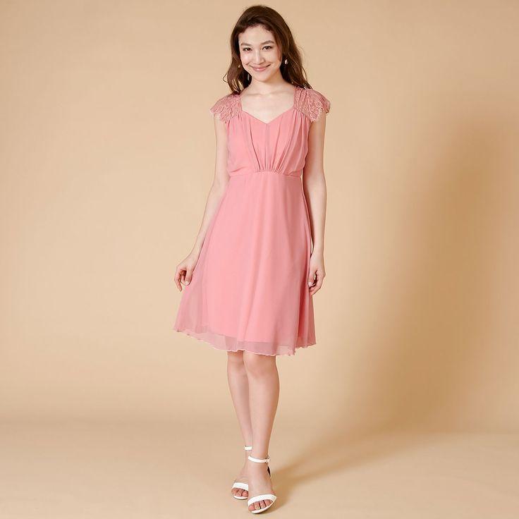 レースとシフォンのコンビネーション・ブライズメイドドレス。#Bridesmaid#ブライズメイド#DRESSPEOPLE#ドレスピープル#pink