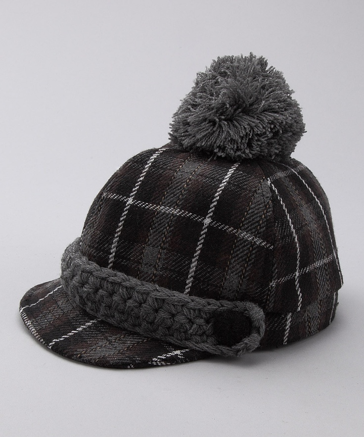 san diego hat company gray plaid pom pom cadet cap san diego cap d 39 agde and kid. Black Bedroom Furniture Sets. Home Design Ideas