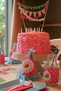 ruffle cake, cute banner