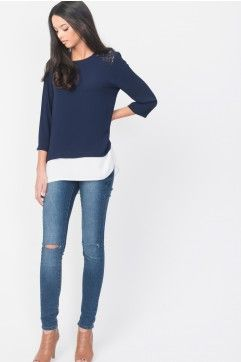 Double Layer Chiffon Blouse With Lace Insert