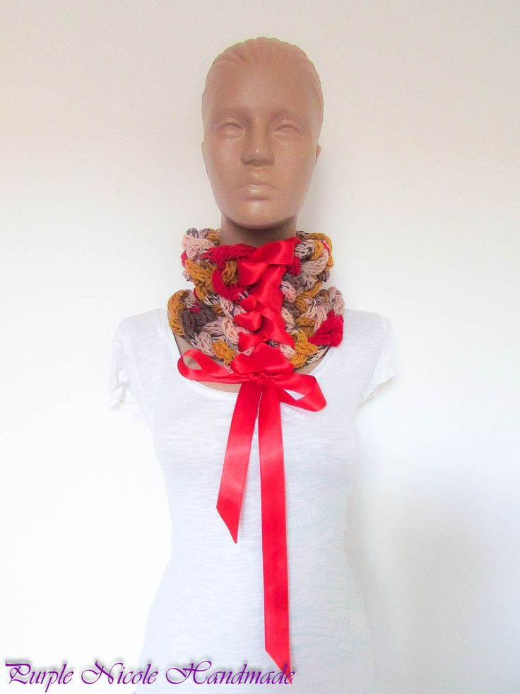 Passioned Victoria - Handmade Elegant Victorian Inspired Neckwarmer by Purple Nicole (Nicole Cea Mov), finger crocheted tubes, then braided and tied with a luscious satin ribbon.