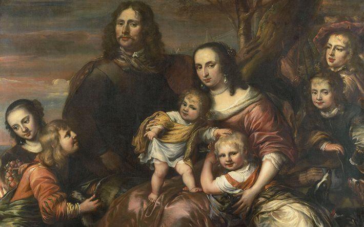 Scarica sfondi Coppia sposata con sei figli, pittura, Jurgen Forni