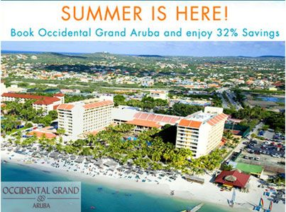 Save up to 32% off and first child stays free this summer at Occidental Grand Aruba! Nestled into the white powdery shores of pristine Palm Beach, the Occidental Grand Aruba provides the perfect backdrop for a leisurely tropical vacation for you and your family. www.allinclusiveresorts.com