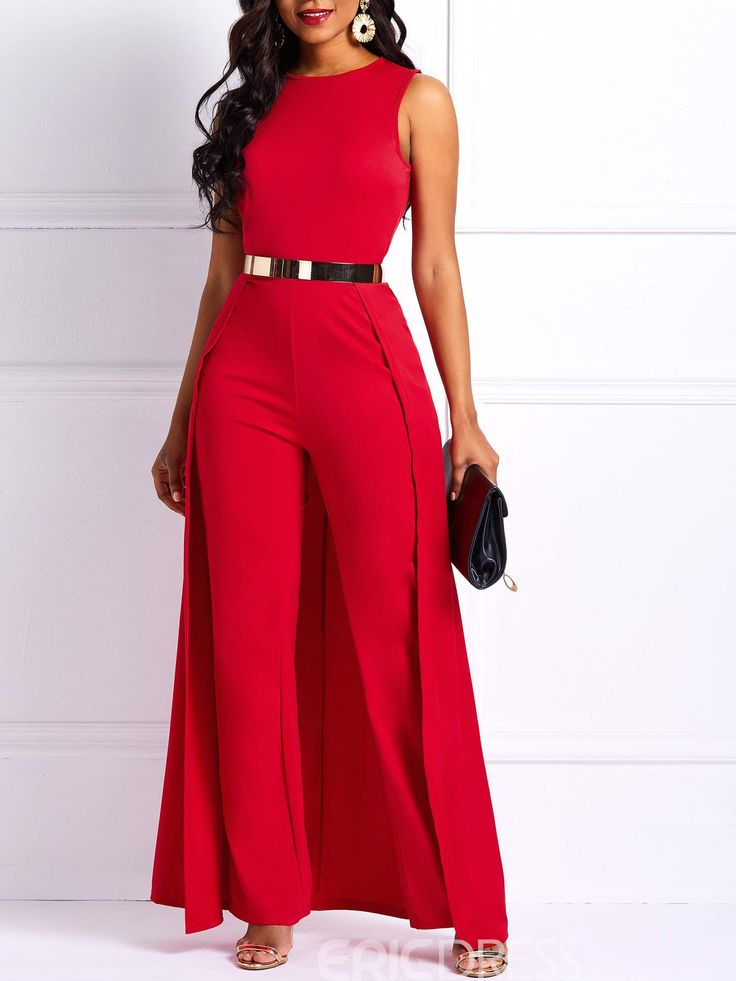 Ericdress Patchwork Slim Overlay Embellished Plain Women's Jumpsuit(Without ... 1