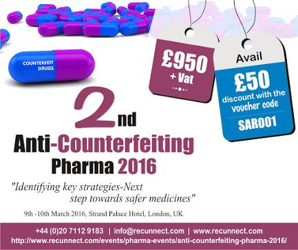 """Still haven't bought your tickets to 2nd Anti-Counterfeiting Pharma Conference 2016? Hurry Up to avail the Offer £50 use voucher code """"SAR001"""". Click here to register for the event on 9th & 10th March 2016 - http://www.recunnect.com/events/pharma-events/2nd-anti-counterfeiting-pharma-2016/"""