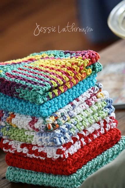Crochet dish cloths...I love these as face cloths even more!