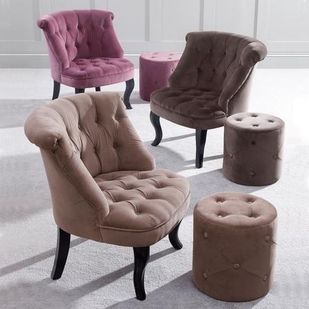 Mink bardot velvet occasional chair dunelm chairs for Boudoir stoel