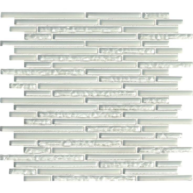 MS International Ice Floe Blend Interlocking 12 in. x 12 in. x 8 mm Glass Mosaic Tile (10 sq. ft. / case), White