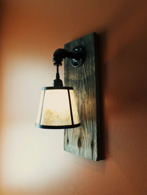 Rustic Barnwood wall light on Etsy.  Need this without the shade and a dimmer switch.