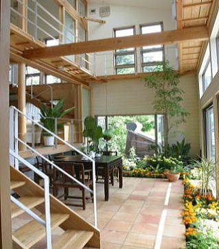 玄関を入るとすぐ横に温室土間のインナーテラスがあります。家の中でバーベキューも出来る土間テラスです。 気軽に靴のままくつろけ゜る縁側感覚を現代住宅に再現した楽しい場所です。 アウトドアデッキ側に列植した季節の草花が目を楽しませます。 ガーデナー建築家の楽しい家 ガーデナー建築家だから出来る!!楽しい健康住宅ギャラリー