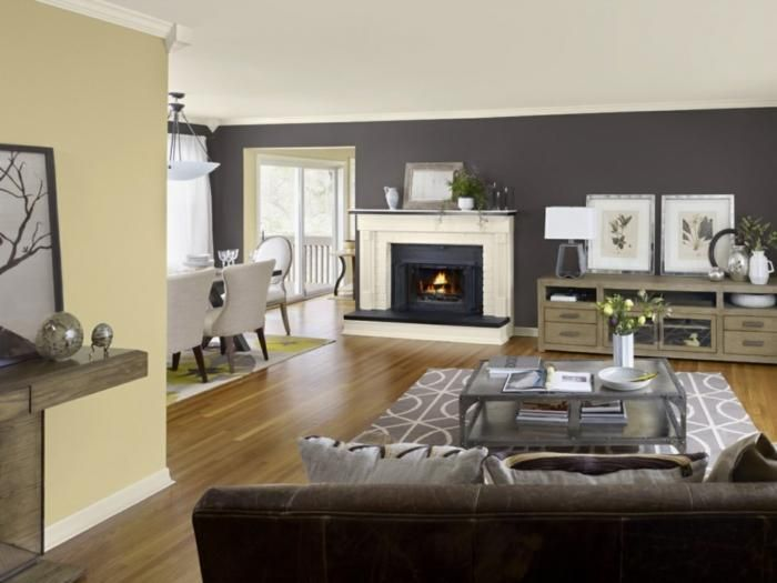 Living Room Gray Gray Accent Wall And Light Yellow Wall Paint Dining Room Colour Schemes Living Room Color Living Room Color Schemes