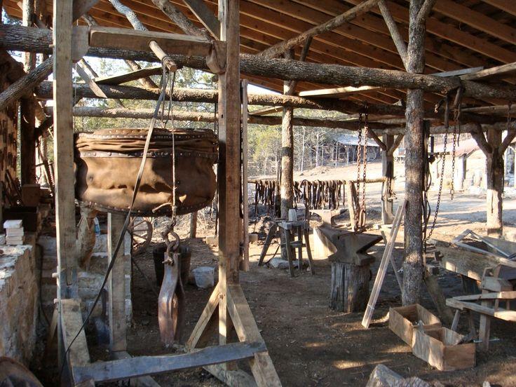 medieval open style blacksmith shop / forge...wattle/daub ...