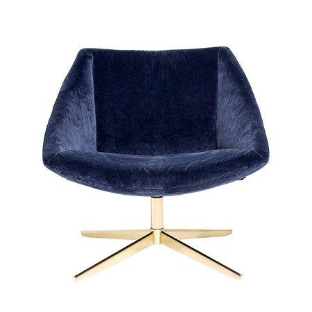 Elegant Stol Blå Sammet 77x73x76cm