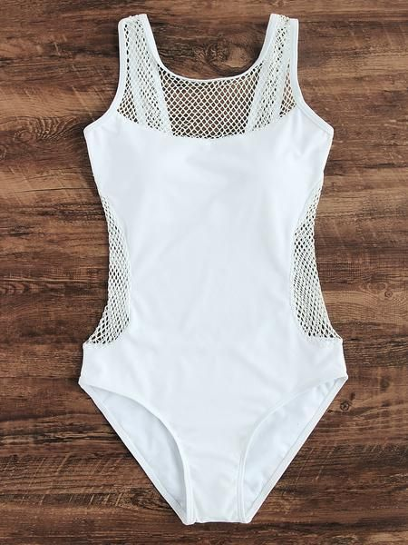 White Bandeau Top Hollow Out Design One-Piece Swimwear