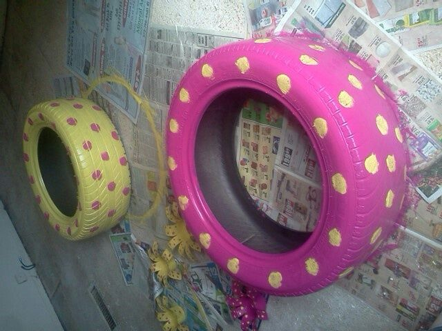 10 best images about tire chair project on pinterest - Painted tires for flowers ...