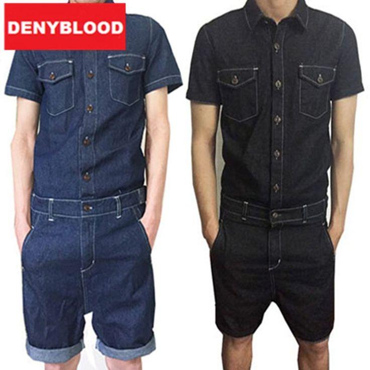 (37.07$)  Watch now  - Mens Jumpsuit Denim Overalls Short Sleeves Men Baggy Cargo Pants with Suspenders Denim Bib Overalls Shorts for Men MDB06