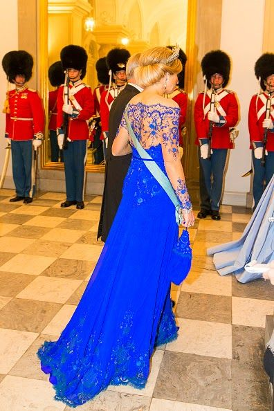 Queen Maxima of the Netherlands attends a State Banquet 2015 at Christiansborg Palace in Copenhagen, Denmark