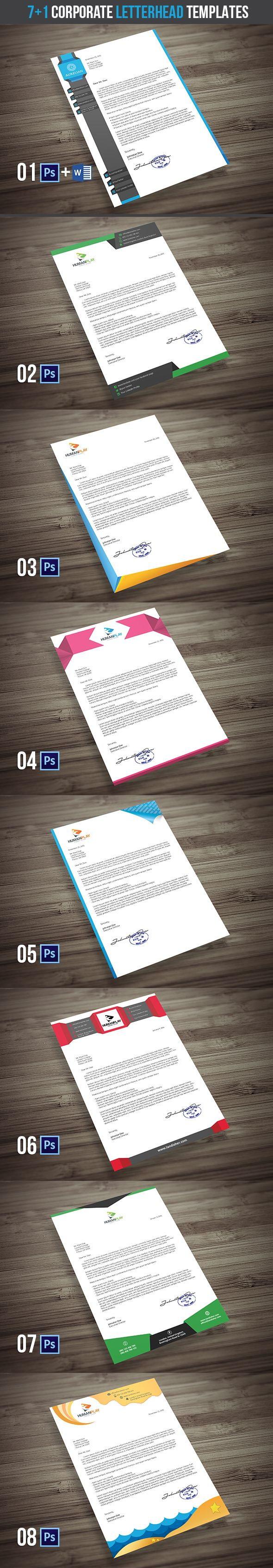 7+1 Corporate Letterhead Templates is creative, clean and modern 8-piece template pack suitable for company letterheads, documents and presentations.