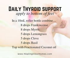 Support your thyroid functions naturally with essential oils. #Therightdietformythyroid