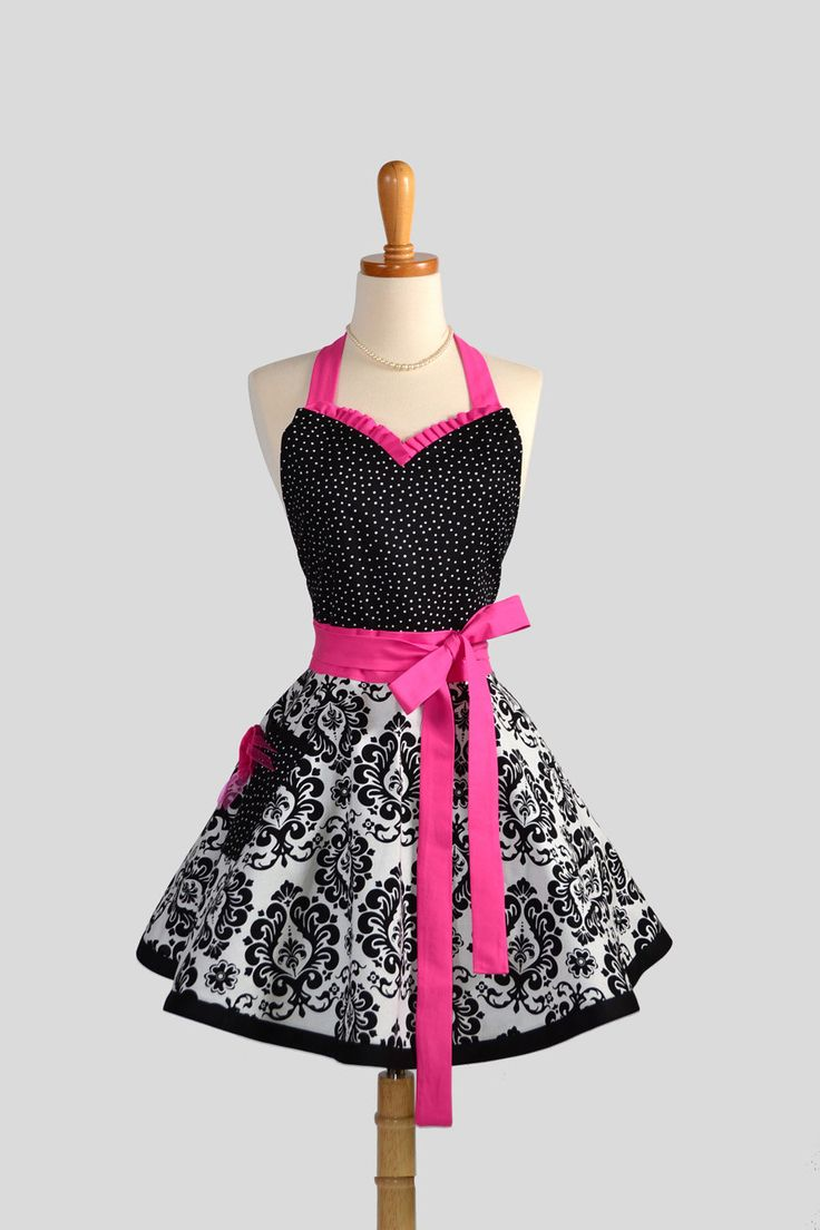 Sweetheart Retro Apron / Cute Womens Apron in Black and White Damask Black Dots and Hot Pink a Sexy Apron. $43.00, via Etsy.