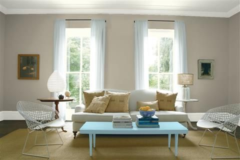 Look at the paint color combination I created with Benjamin Moore. Via @benjamin_moore. Wall: Sandy Hook Gray HC-108; Trim: Intense White OC-51; Table: Marlboro Blue HC-153; Ceiling: Intense White OC-51.