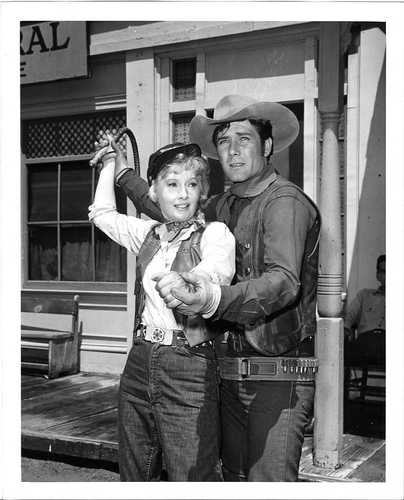 RARE Vintage Still of Robert Fuller & Barbara Stanwyck - from a Wagon Train episode