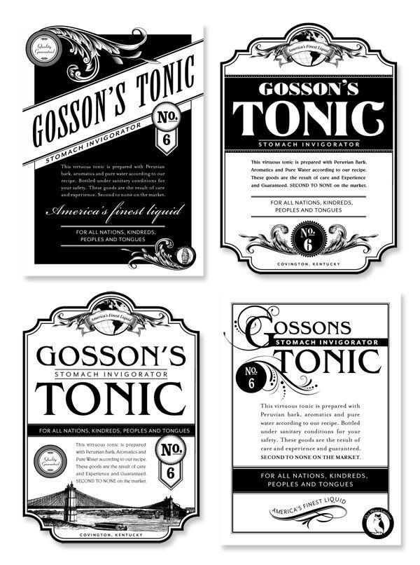 Gosson's Tonic label by Claudean Wheeler, via Behance