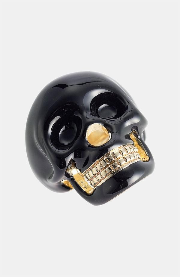 Skull ring ~ black with gold