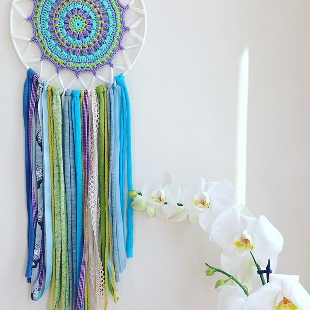 Mandala dreamcatcher -Vishnu- Summery blue brings fresh breeze!this cool colors is one of my favorite. Will be in Etsy store but if anyone is interested I can send it to you as well. Love and light  #atelierprya #mandaladreamcatcher #dreamcatcher #attrapereve #summercolors #spiritualdecor #bohodecor #vishnu
