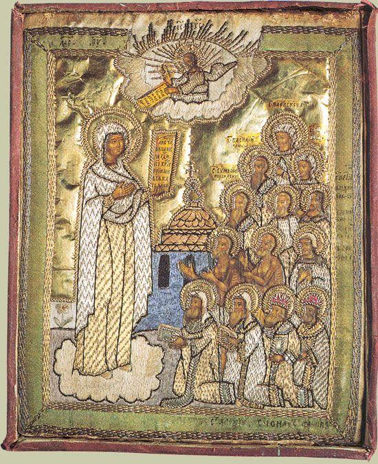 Вышитая икона Богоматери Боголюбской. Начало XIX века #embroidery #икона