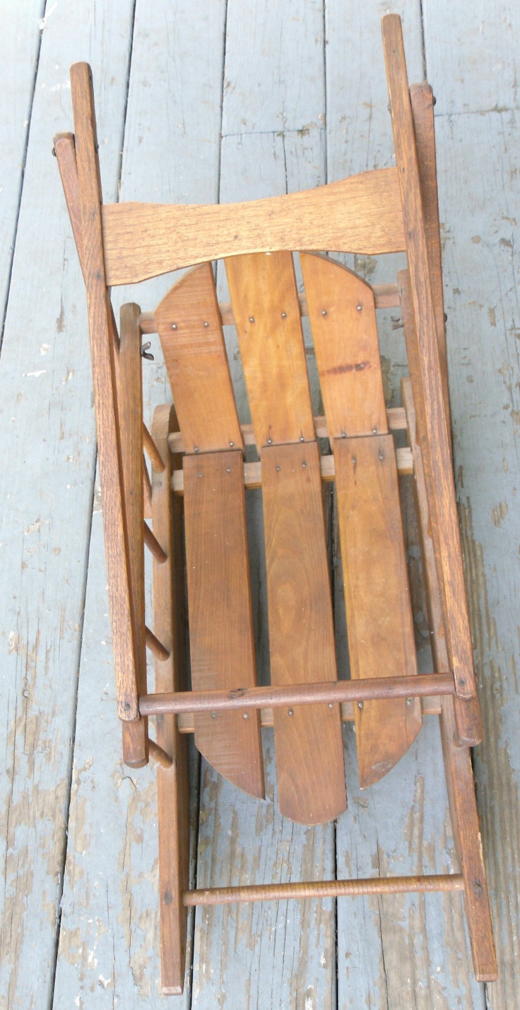Antique 1800s Wood Primitive Folk Art Push Pull Baby Sled,Hand Made Toy