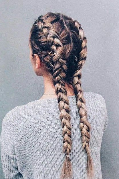 Girl with Dutch long, ombré double braids.