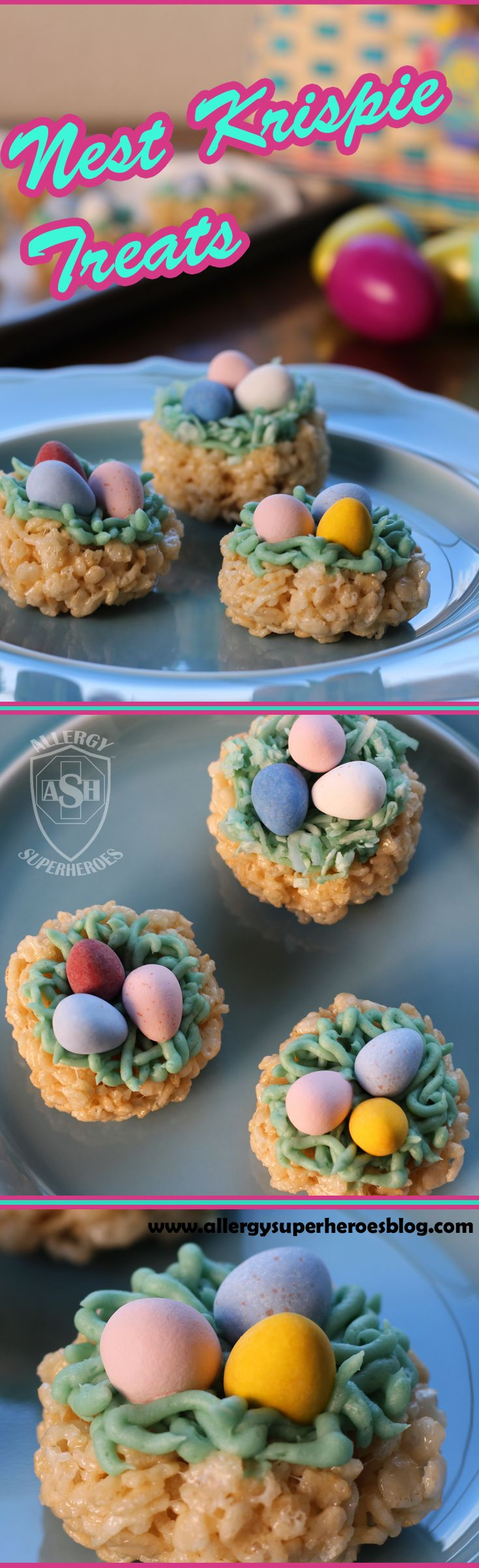 Nest Krispie Treats, the Perfect Easter Dessert! | Allergy Superheroes. Contains gluten (but not wheat) and corn. Free from peanuts, tree nuts, egg, dairy, soy, wheat, fish, shellfish, and seeds.