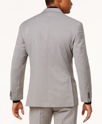Sean John Men's Classic-Fit Stretch Gray Pinstripe Suit Jacket - Gray 48L