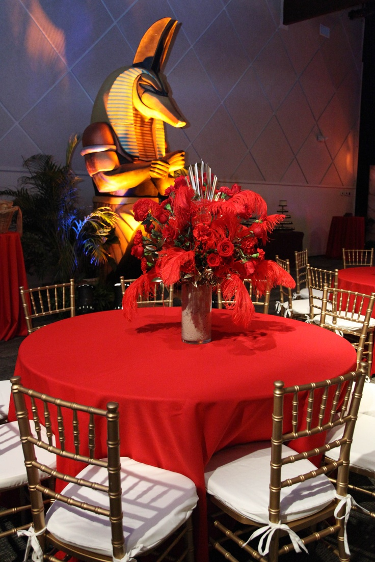 Red And Gold Color Scheme For Egyptian Theme Dinner Party