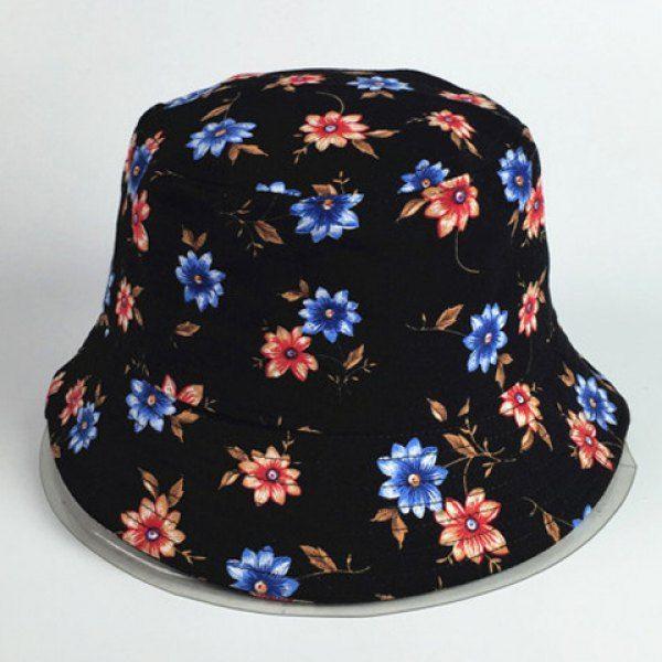 Chic Small Flowers Pattern Women's Black Bucket Hat #women, #men, #hats, #watches, #belts, #fashion, #style