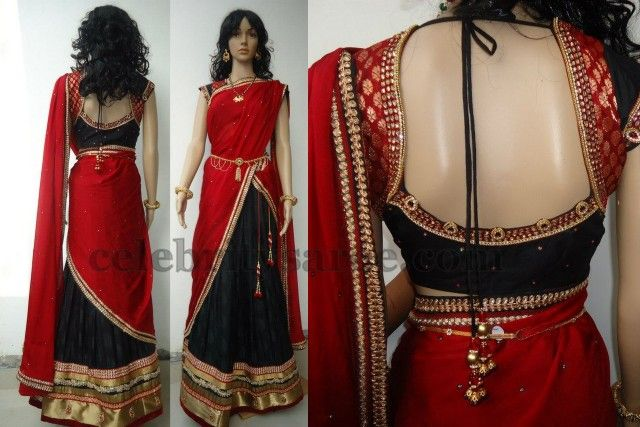 Wide Neck Blouse with Half Saree