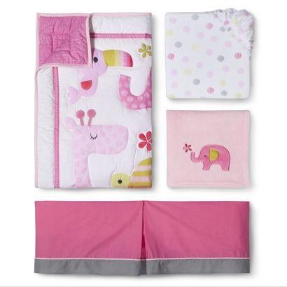 Circo 174 Snooz N Safari Girl 4pc Crib Bedding Set Pink
