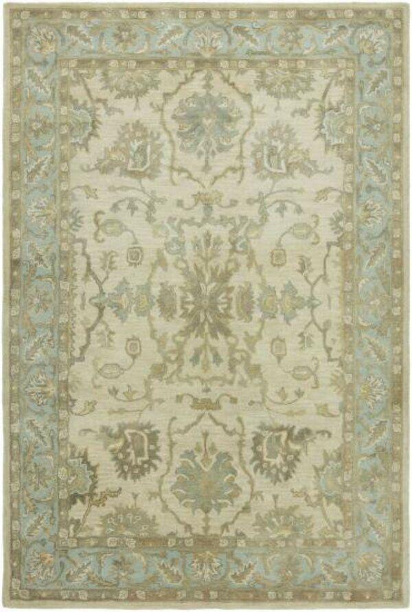 Riceboro Floral Handmade Tufted Wool Ivory Light Blue Area Rug Area Rugs Rugs On Carpet Rugs