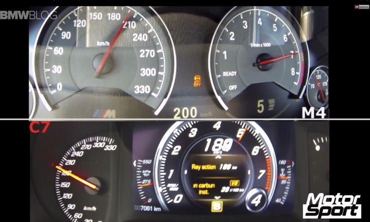 0-200 km/h : BMW M4 vs. Corvette C7 Stingray - http://www.bmwblog.com/2014/05/16/0-200-kmh-bmw-m4-vs-corvette-c7-stingray/