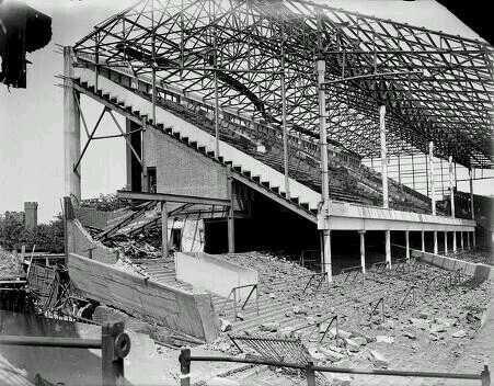 The Boleyn Ground/Upton Park (West Ham United) damaged by a German V-1 Flying Bomb. London, 1944.