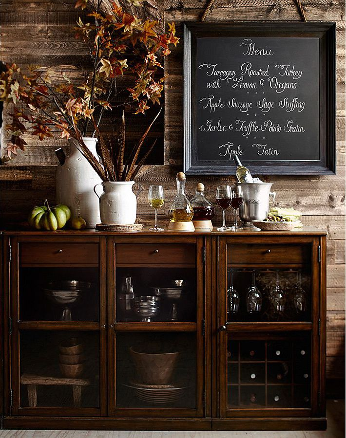 Thanksgiving Bar Setup With Leaves On Saxton Suite Chalkboard
