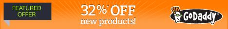 GoDaddy.com Promo Coupon Code 32% OFF May 2013:  For your first order GoDaddy giving Up To 32% savings at this month May 2013. Now you can purchase any products from GoDaddy and you will save BIG discount on your shoppings through GoDaddy May 2013 cheap 32% OFF promotional coupon code.
