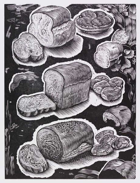 Wood engraved proof for an advertisement for Allied Bakeries/Marks and Spencer bread wrappers featuring loaves of bread of various shapes, each with a slice cut off, and rolls a bowl and wheat in white against a black background.