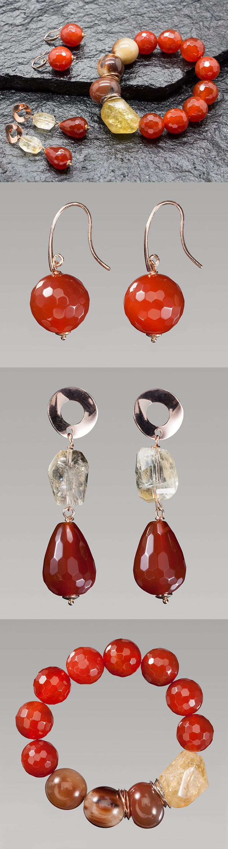 Beautiful earrings and bracelet, all handmade in Italy with natural red stones, silver 925 without Nichel and yellow Citrine. Can find all jewels on our website: http://www.antogioielli.it/
