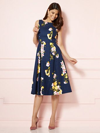 Shop Eva Mendes Collection - Felicity Dress - Navy. Find your perfect size online at the best price at New York & Company.