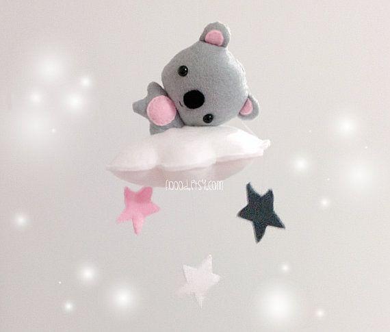 × Unique Baby Mobile - Koala On A Cloud Nursery Mobile - Handmade Cot / Crib Mobile Etsy.