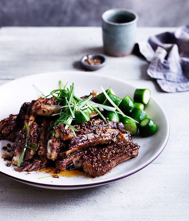 Australian Gourmet Traveller recipe for Sichuan-spiced lamb ribs.